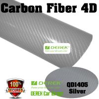 Quality 4D Glossy & Shiney Carbon Fiber Vinyl Wrapping Films--Silver for sale
