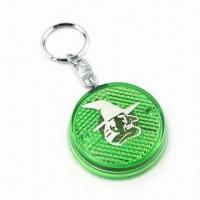 Quality Flashing Light Keychain with Big Silkscreen Area and 4.5cm Diameter for sale