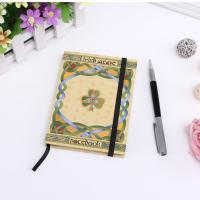Quality New premium custom printed hard cover fsc paper notebook with golden edge,pen is available for sale