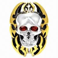 Quality Hot Selling 2012 Gold-plated Stainless Steel Skull Gothic Flame Garnet Ring for sale