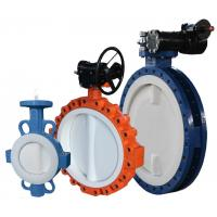 Quality DN300 Resilient PTFE PFA FEP Seated PN16 Wafer Butterfly Valve for sale