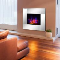 Quality Wall Mount Electric Fireplace Heater  Mirror panel LED flame EF452K remote control pebbles room heater for sale