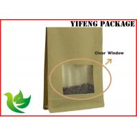 Best Kraft Stand Up Pouches With Window / Resealable Kraft Paper Bags Custom Printing wholesale