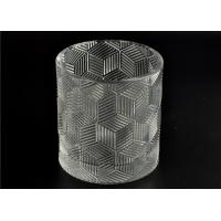 Contemporary Glass Candle Holder Transparent With Embossed Pattern