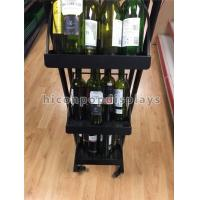 Best 3 Shelves Mobile Soft Drink / Wine Display Stand Black Color With 4 Casters wholesale