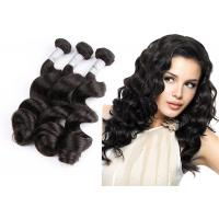China Natural Black Remy Hair Weft With Closure / 10 - 30 Brazilian Body Wave Hair on sale