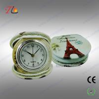 New portable and folding 3D flower printing PU Paris travel alarm clock for promotion