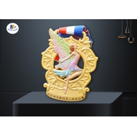Custom Cut Out Dancing Medal Feature The Dancer In Colorful Painting With Wings for sale