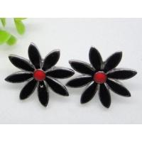 Buy cheap Beautiful women's Black flower Stainless Steel stud Earrings for Anniversary from wholesalers