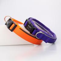 China C502 New Soft Safety Pet Collar and Leash Reflective Neoprene Nylon Webbing Dog Collars for walking on sale