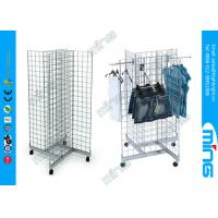 China Black 4-way Round Gridwall Display Racks , Wire Grid Wall Clothes Rack on sale