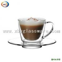 Quality 200ml glass double wall cup with handle & saucer for sale