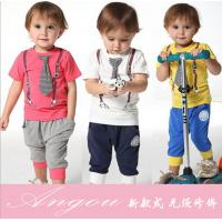 China 2014 spring-summer new arrived casual sport tie children baby boy clothing sets boys suit on sale
