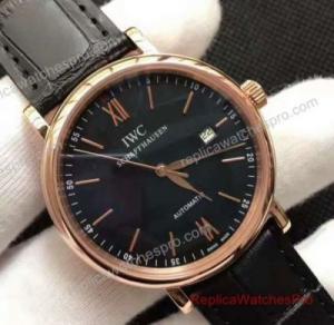 IWC Schaffhausen Portofino Watch Rose Gold Black Dial 40mm