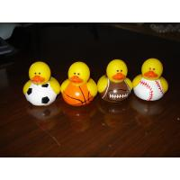 Tiny Assorted Sports Themed Rubber Ducks With Football / Baseball / Basketball Design