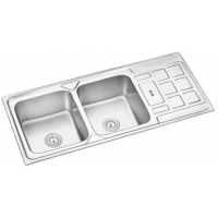 Quality 120*50CM double bowl double drain plating or satin stainless steel kitchen sink hardware for sale