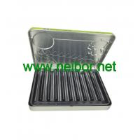 Quality 10pcs wax crayons packaging tin box with plastic tray and hinged lid for sale