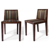 Quality Classic Dark Brown Modern Dining Room Chairs With Stripe Fabric Upholstered for sale