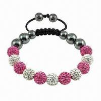 Buy Shamballa Bracelet with Crystal Ball, Various Colors are Available at wholesale prices