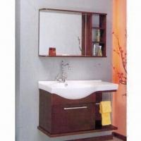 China Bathroom Cabinet with Mirror, Ceramic Sink, Faucet, Plywood Carcass and Maple Solidwood Door on sale