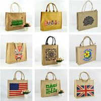 Quality Eco friendly cheap custom printed jute bag for shopping with handle for sale