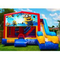Quality 7in1 kids Despicable Me minion bounce house with basketball hoop N obstacles inside for sale for sale