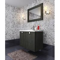 China wall mounted classic bathroom cabinet with blackcolor solidwood and waterproof marbleworktop and undertop basin BS9062QM on sale