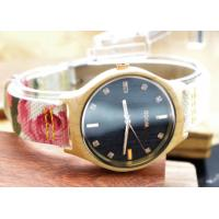China Nylon Straps Diamond Watches For Women With Colorful Flowers On It on sale