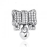 Quality Knot Love Heart Sterling Silver Beads For Bracelets , 925 Sterling Silver Charms for sale