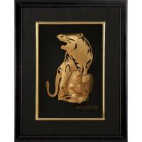 Quality Manual 3D Pure tiger gold foil crafts home decoration , golden Animal frame for sale