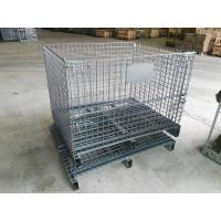 China Lockable Steel Wire Containers Half Drop Gate Industrial Metal Wire Baskets on sale