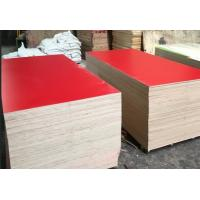 Quality Red Color Melamine Faced Plywood , Hardwood Core Plywood Polished Surface for sale