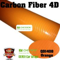 Quality 4D Glossy & Shiney Carbon Fiber Vinyl Wrapping Films--Orange for sale