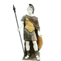 Quality Classic greek stone man statue ,male marble sculpture with shield,China stone carving Sculpture supplier for sale