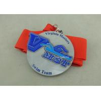Best Zinc Alloy Swimming Award Ribbons Medals , Die Stamped Ribbon Personalised Medals wholesale