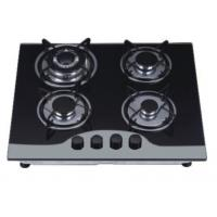 Quality Durable Four Burner Gas Cooker Hob Built In Installation Black Tempered Glass Material for sale