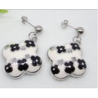 Best Various styles Stainless Steel Enamel dangle Earrings with black flower wholesale