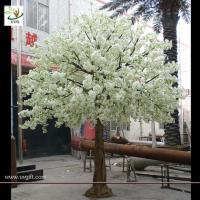 Best UVG wedding stage decoration use indoor white artificial cherry blossom trees for sale CHR011 wholesale