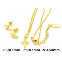 Best Mini Golden Cross Stainless Steel Jewelry Set Earring And Pendants Clear Crystal wholesale