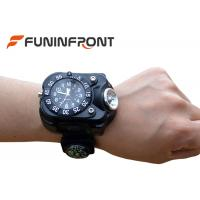 China 5 Files CREE XPE Q5 LED Flashlight USB Charge Wrist Watch Light with Compass on sale