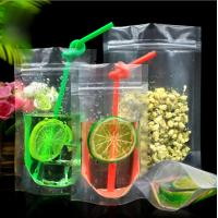 Quality Plastic drink bag ziplock bag zipper bag stand up pouch malaysia with straw for sale