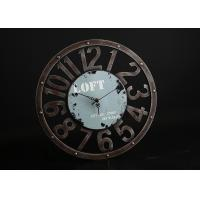 """Quality Round Rust 15""""x15"""" Decorative Wall Clocks In Blue Background With Big Numbers for sale"""
