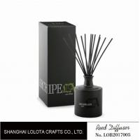 Quality Black round bottle glass reed diffuser with black sticker and folding box for sale
