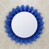 Quality Blue Ffamed Glass Venetian Mirror Living Room 3d Wall Mirror Rectangle for sale