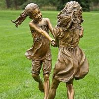 Quality Happy Children Sculpture Life Size Two Girls Playing Game Bronze Garden Statue for sale