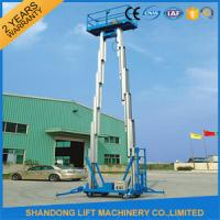 China 12m Hydraulic 2 Post Aluminum Alloy Man Lift Rental For Aerial Wok Platform on sale