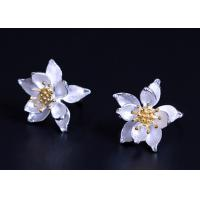 Quality Gold Plated Sterling Silver Flower Earrings , Lotus Flower Silver Earrings For Ladies for sale