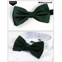 China Dark Green Plain Pre-Tied Thistle Bow Tie on sale