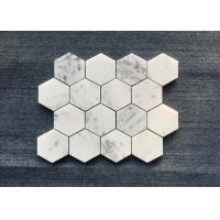 Oscar White Bathroom Natural Stone Mosaic Tile 10 Mm Thickness For Wall Decoration