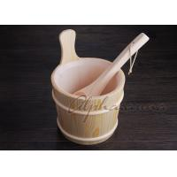 Best Lacquered foot bath wood bucket With Ladle For Turkish Sauna Bath Enjoyment wholesale